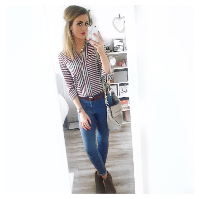 topshop stripe shirt joni jeans