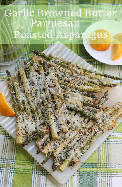Food Lust People Love: This Garlic Browned Butter Parmesan Roasted Asparagus is a most wonderful side dish or even appetizer. Set the dish out and let guests help themselves to spear after spear. They'll be gone in a jiffy.