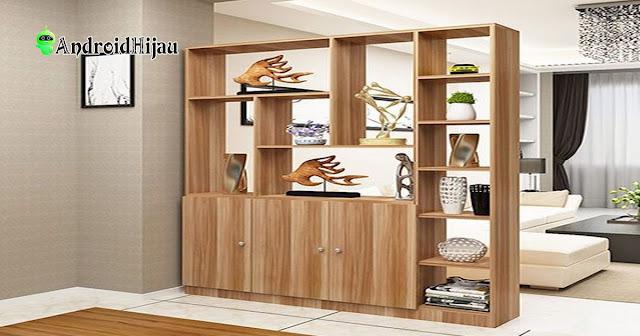 desain partisi pembatas ruangan minimalis dengan almari brongga