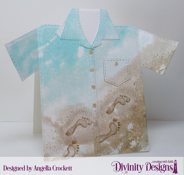 Divinity Designs LLC 'Footsteps' Stamp/Die Duos, Custom Dies: Couture Collection, Everyday Shirt; Card Designer Angie Crockett