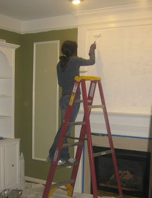 Painting the overmantel with acrylic paints