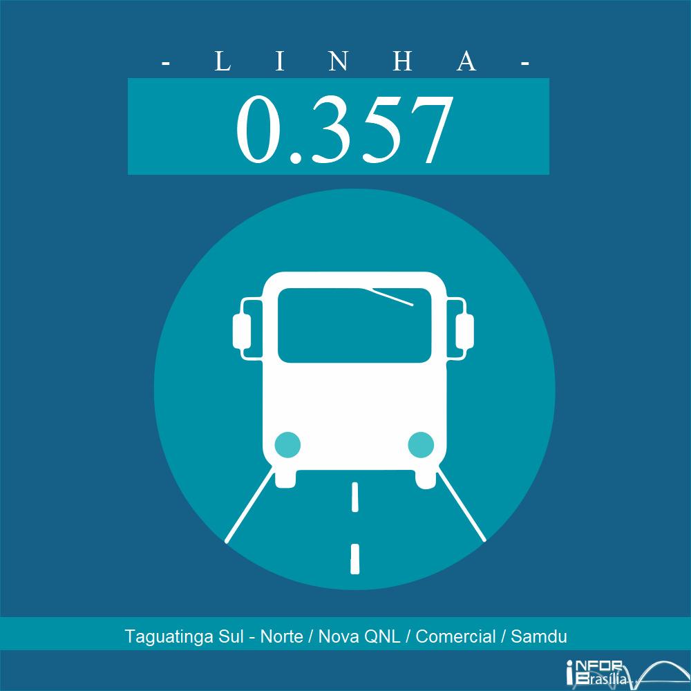 Horário de ônibus e itinerário 0.357 - Taguatinga Sul - Norte / Nova QNL / Comercial / Samdu