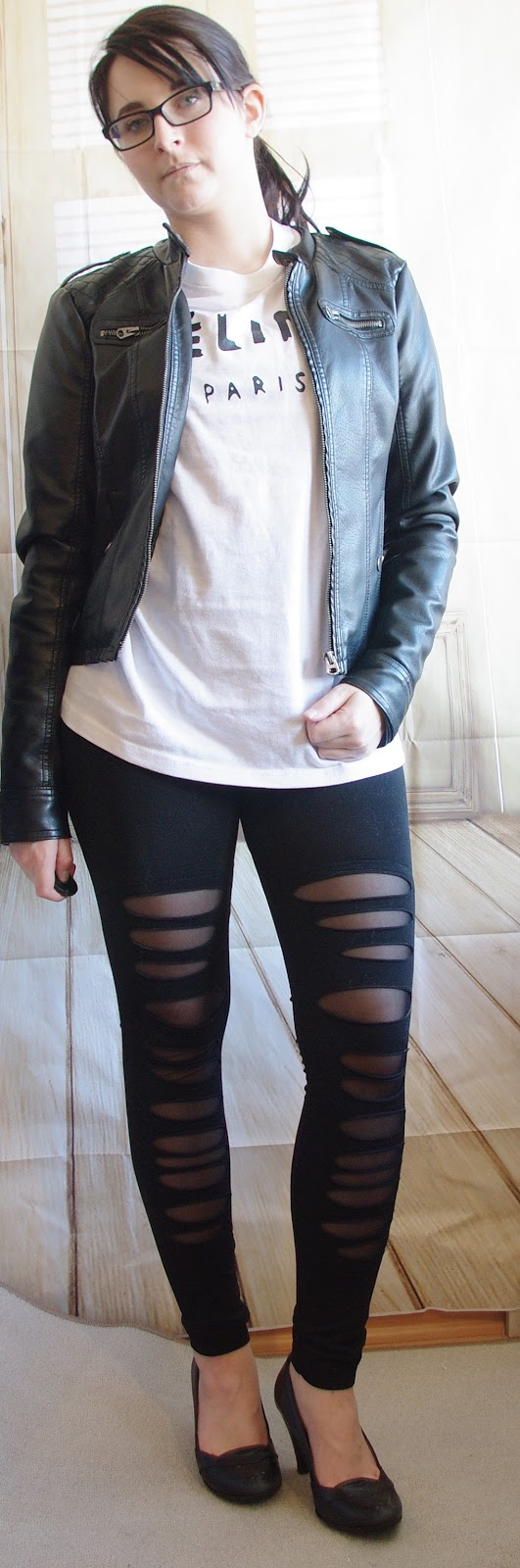Outfit Leder, Leggins, Pumps