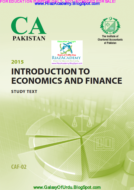 CAF-02 - INTRODUCTION TO ECONOMICS AND FINANCE 2015- STUDY TEXT