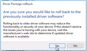 Drive package rollback