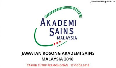 Jawatan Kosong Akademi Sains Malaysia (ASM) 2018