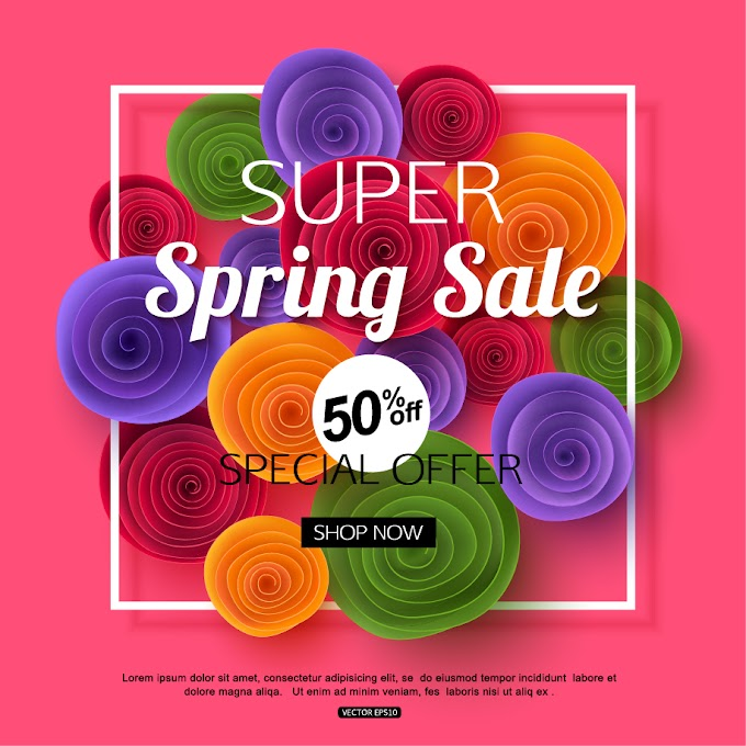 Spring flower with sale special offer background free vector