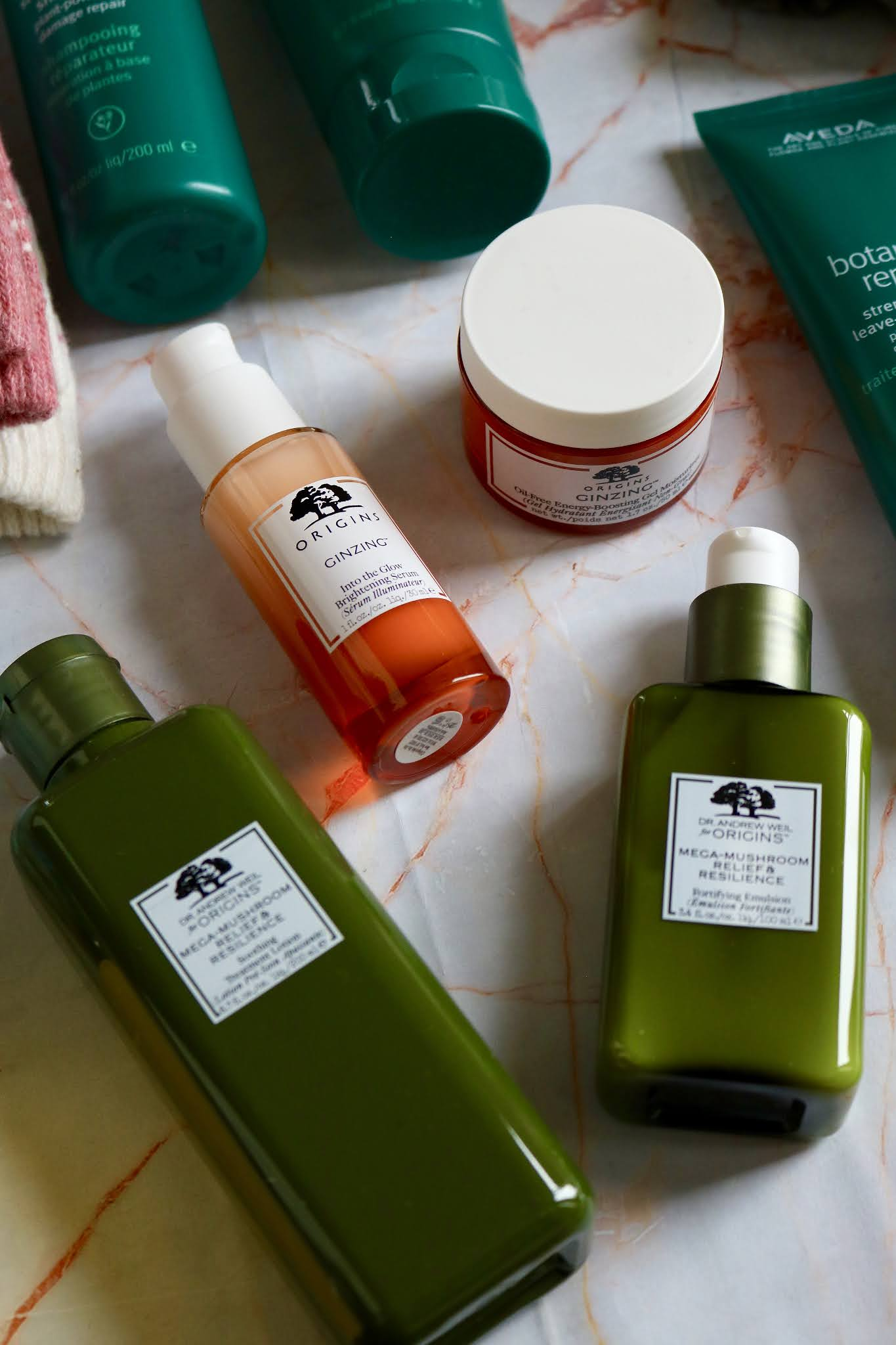 Origins Ginzing Into the Glow Brightening Serum £39, Energy-Boosting Gel Moisturiser £26, Dr Andrew Weil Mega-Mushroom Relief & Resilience Soothing Treatment and Emulsion both £32