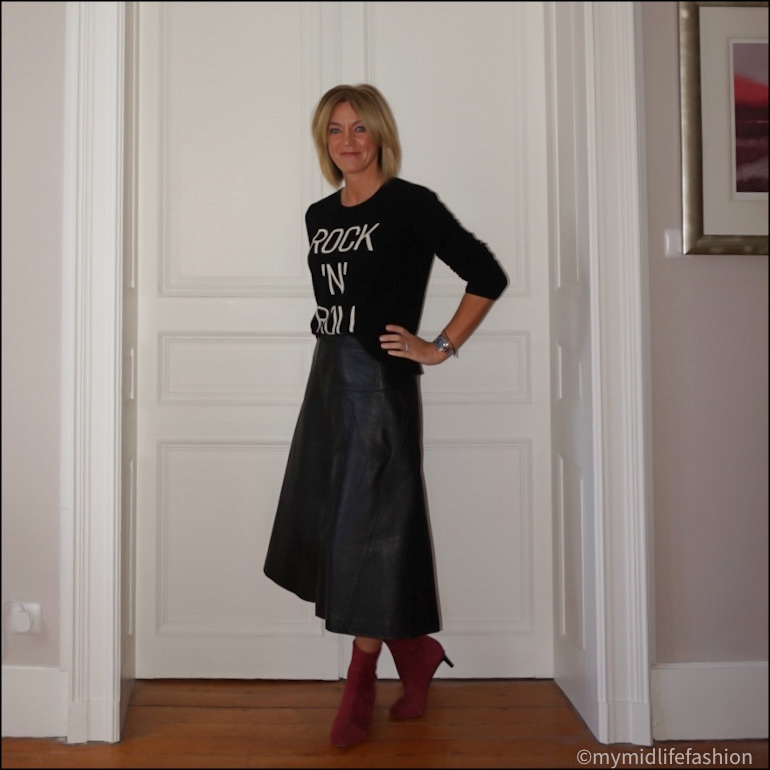 my midlife fashion, Bella freud je t'aime Jane crew neck jumper, marks and Spencer a line leather skirt, Isabel Marant goat suede ankle  boots