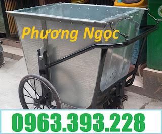 Xe thu gom rác bằng tôn, xe rác 500L, xe chở rác tôn 3 bánh, xe rác 500 Lít Xe-gom-r%25C3%25A1c-500l-1-cai
