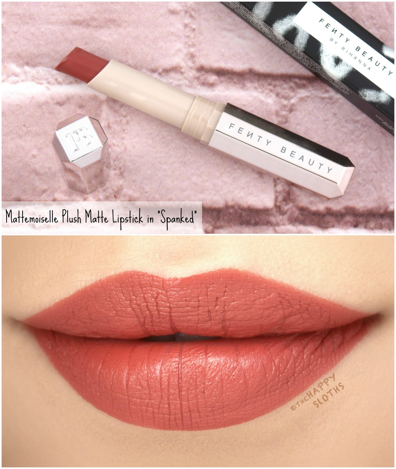 "Fenty Beauty by Rihanna | Mattemoiselle Plush Matte Lipstick in ""Spanked"": Review and Swatches"