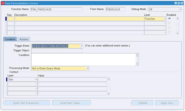 Forms Personalization in Oracle Apps R12 Example: Zoom Functionality
