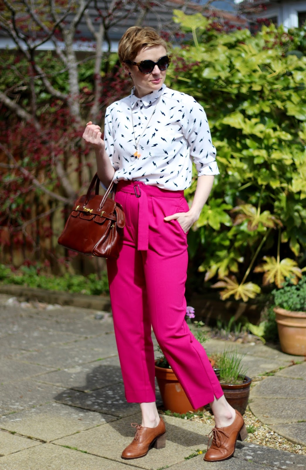 Pink trousers and Monochrome shirt | Fake Fabulous | Bold Work Outfit