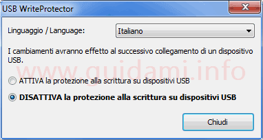 USBWriteProtect interfaccia grafica