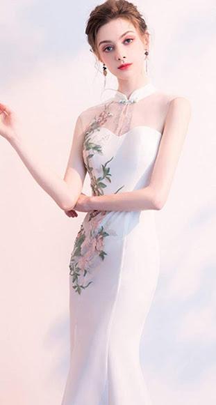 Beautiful White Cheongsam Qipao Dresses For Women