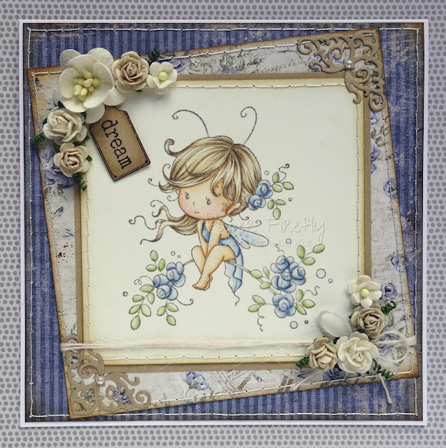 Blue floral design with cute fairy (image is Sweetie from Wee Stamps for Whimsy stamps)