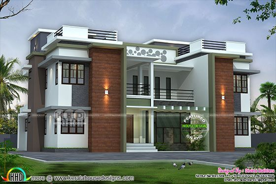 6 bedroom flat roof home design - Year 2018