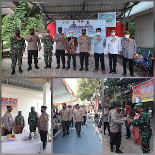 Kapolda Kepri tinjau posko zona PPKM,wilayah zana Merah di kota Batam dan vaksinasi massal di Polresta Barelang