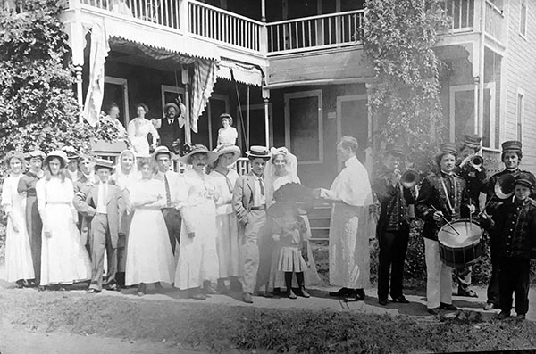 A womanless wedding, circa 1910 in Waterbury, Connecticut.