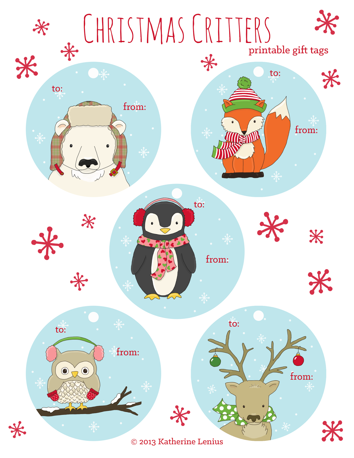 Katie's Sketchbook: Christmas Critters: Printable Gift Tags