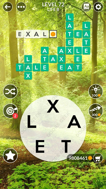Wordscapes Level 72 answers, cheats, solution for android and ios devices.