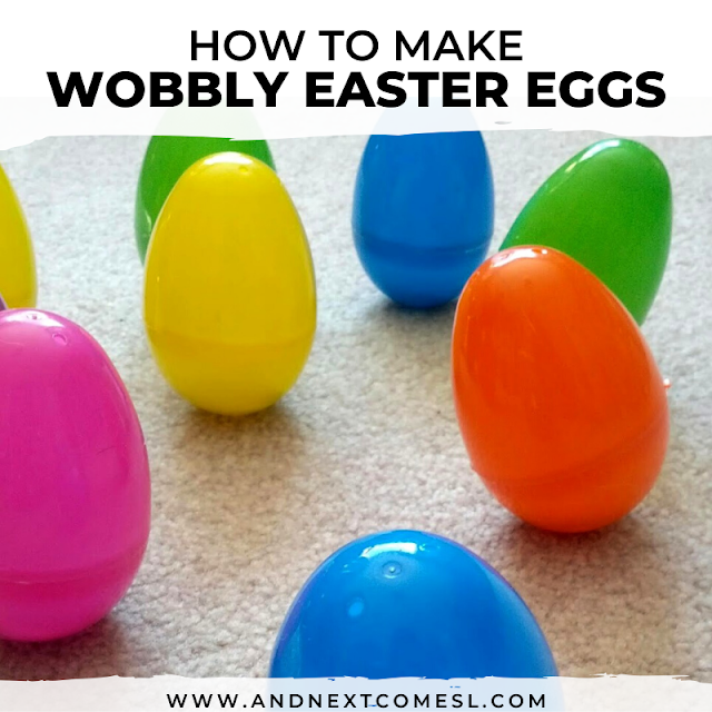 Wobbly plastic Easter egg craft for kids