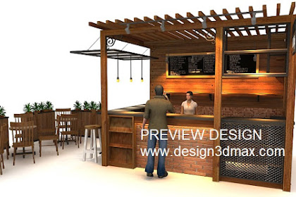 Preview design kedai kopi coffee shop booth unik