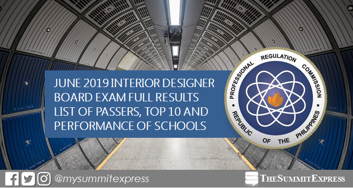 FULL RESULTS: June 2019 Interior Designer board exam list of passers, top 10
