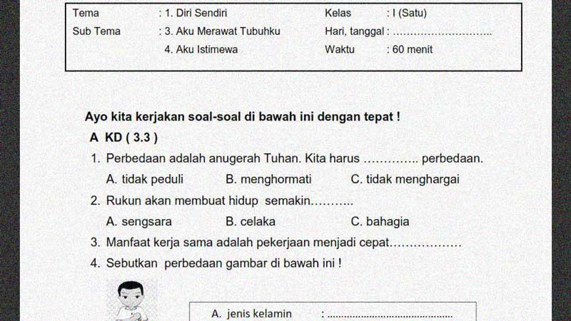 Soal Penilaian Kelas 1 Tema 1 Subtema 3 dan 4 + Kunci Jawaban