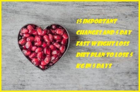 15 IMPORTANT CHANGES AND 5 DAY FAST WEIGHT LOSS DIET PLAN LOSE 5KG IN 5 DAYS