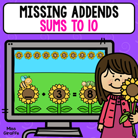 Missing addends digital math activity for first grade or even 2nd to practice addition equations