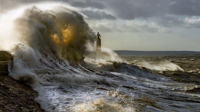 Plano de Fundo Mar, Tempestade, Farol, Oceano