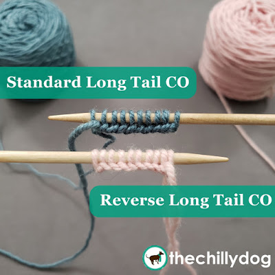 Knitting Tutorial: standard long tail cast on (right to left) and the reverse long tail cast on (left to right).