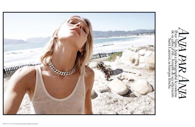 Anja Rubik Models Saint Laurent at the Beach for Vogue Paris
