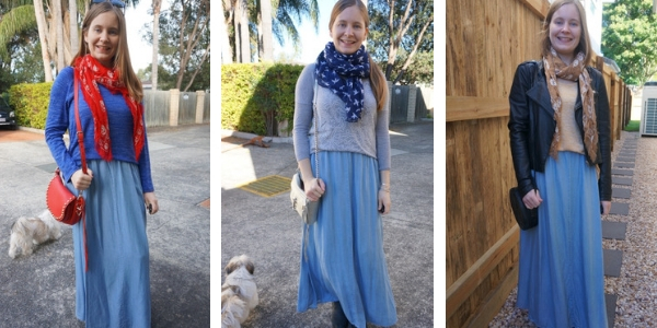 3 ways to wear maxi skirt and knitted jumper pullover outfits | away from the blue