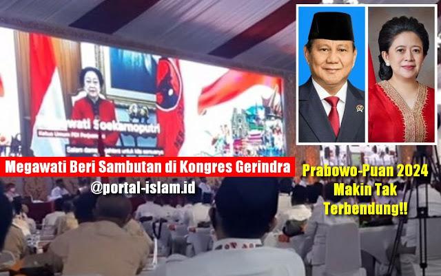 Megawati Beri Sambutan di Kongres Gerindra, Prabowo-Puan 2024 Makin Tak Terbendung