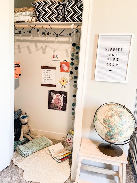 reading closet corner for kids