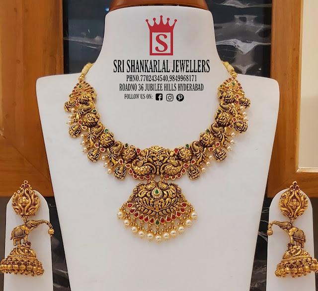 Peacock Nakshi Necklace Jhumkas