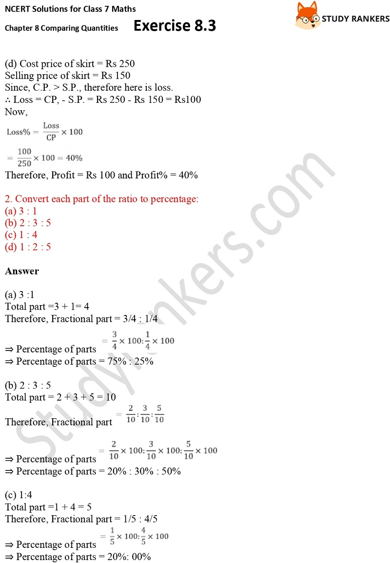 NCERT Solutions for Class 7 Maths Ch 8 Comparing Quantities Exercise 8.3 2