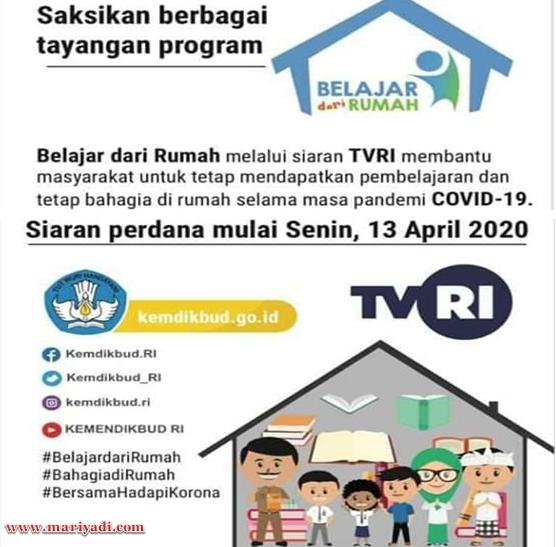 Jadwal Program Belajar di Rumah Lewat Siaran TVRI Kemendikbud | Cocok Untuk Pelajar PAUD SD SMP SMA yang Sulit Jaringan Internet