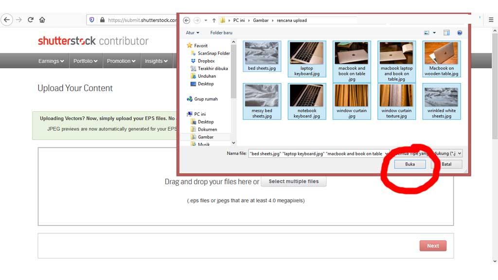 Fajriology.com - Seleksilah seluruh foto tersebut, lalu klik  tombol 'open' atau 'buka'