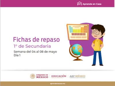 Secundaria Fichas de trabajo para Aprender en Casa de la semana del 4 al 8 de mayo