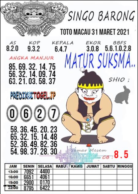 Syair Top Singo Barong Toto Macau Rabu 31 Maret 2021