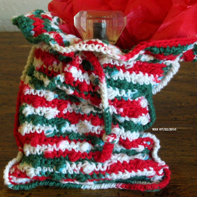 Red and Green Pouch Bag - Handmade By Ruth Sandra Sperling at RSS Designs In Fiber