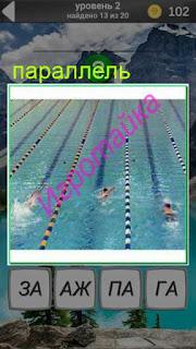 в бассейне плавают вдоль параллельных натянутых канатов по дорожкам