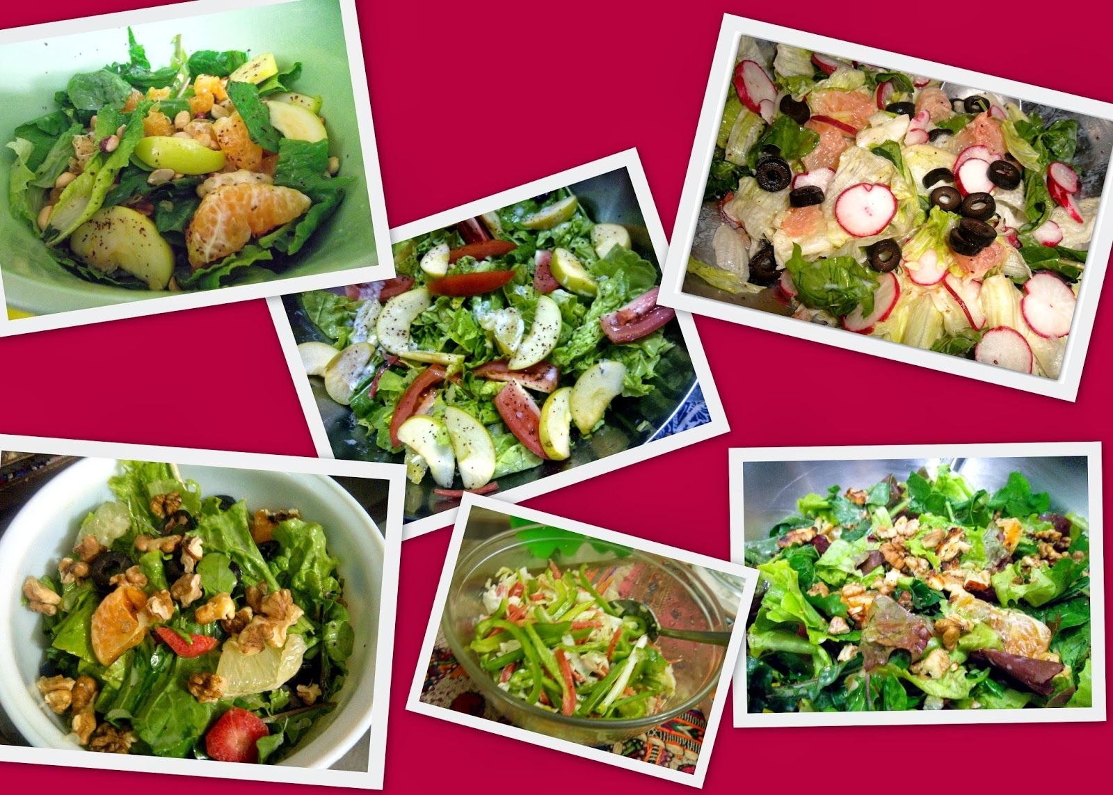 Fresh Salads tossed with various Salad Dressings
