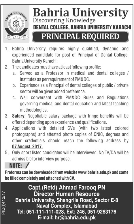Principal Jobs in Dental College Bahria University Karachi July 2017.