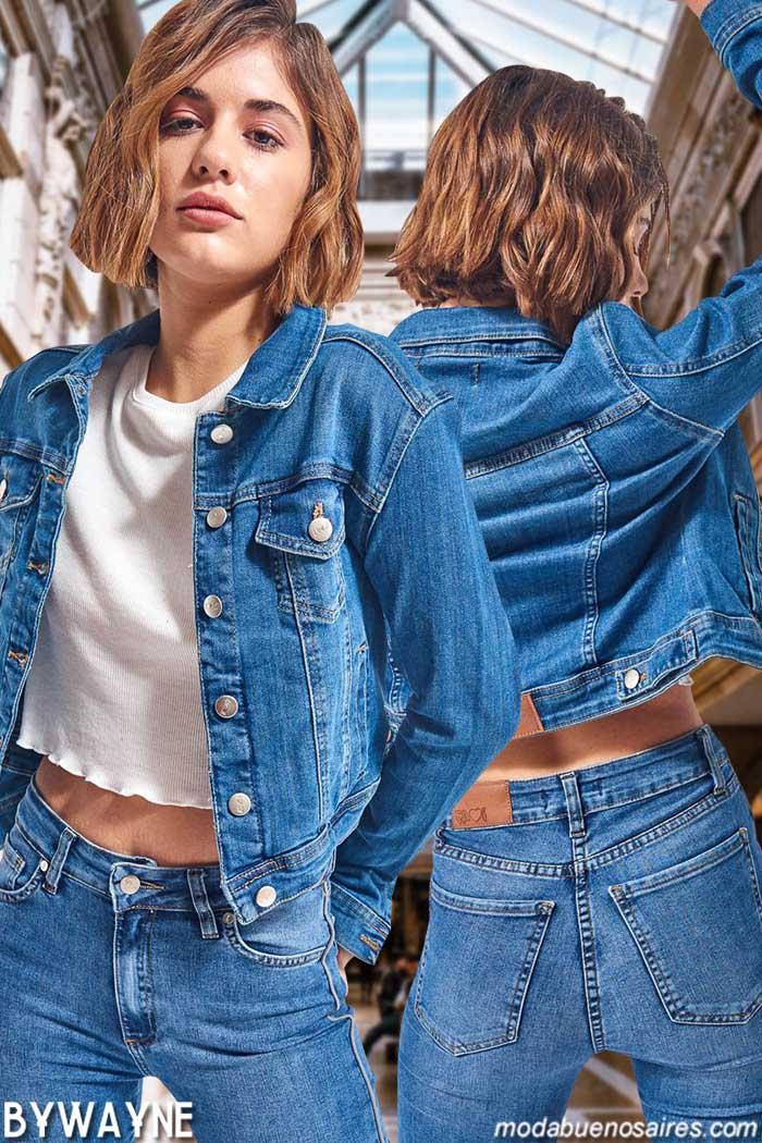 Camperas de jeans elastizadas primavera verano 2020, Moda jeans primavera verano 2020.