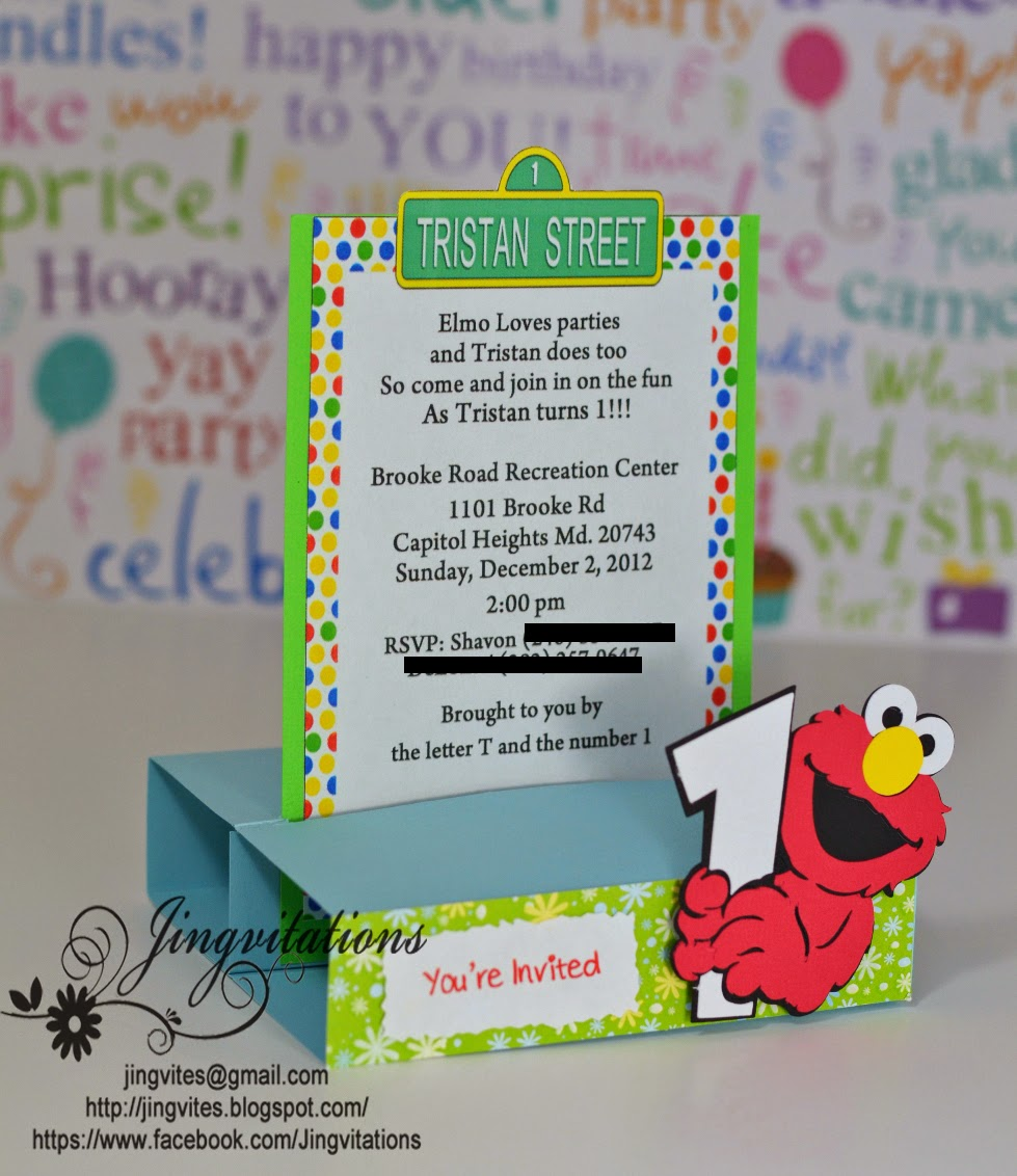 jingvitations  elmo baby cards shower birthday party