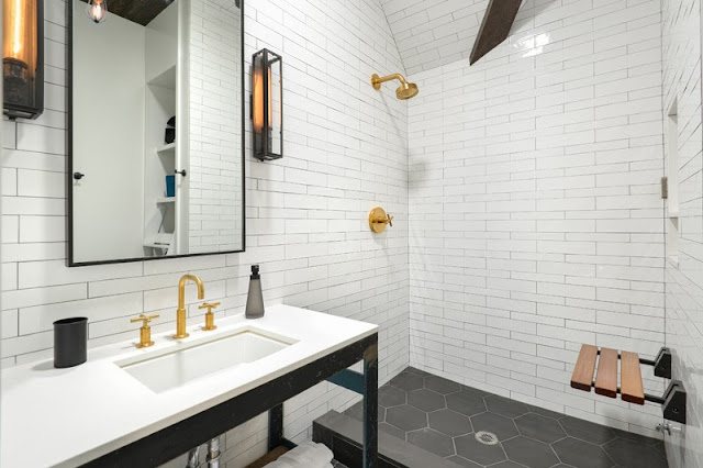 Modern classic bathroom in Church conversion to chic private home Chicago